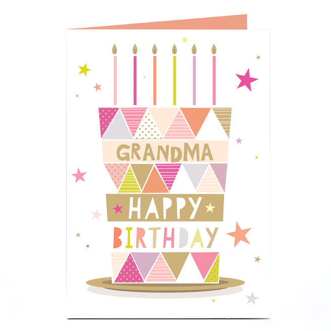 Personalised Birthday Card - Gold and Pink Cake