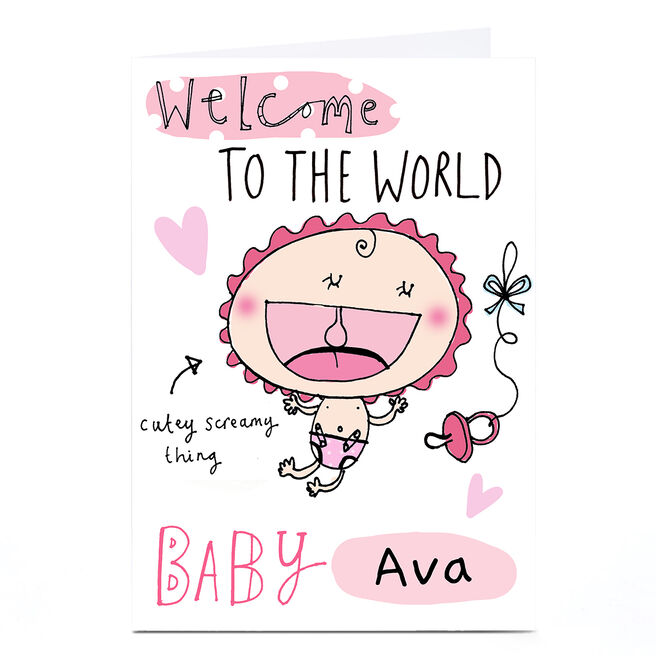 Personalised Lindsay Loves To Draw Card - Welcome To The World, Pink