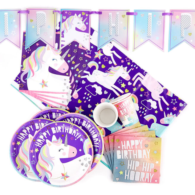Unicorn Party Tableware & Decoration Bundle - 82 Pieces