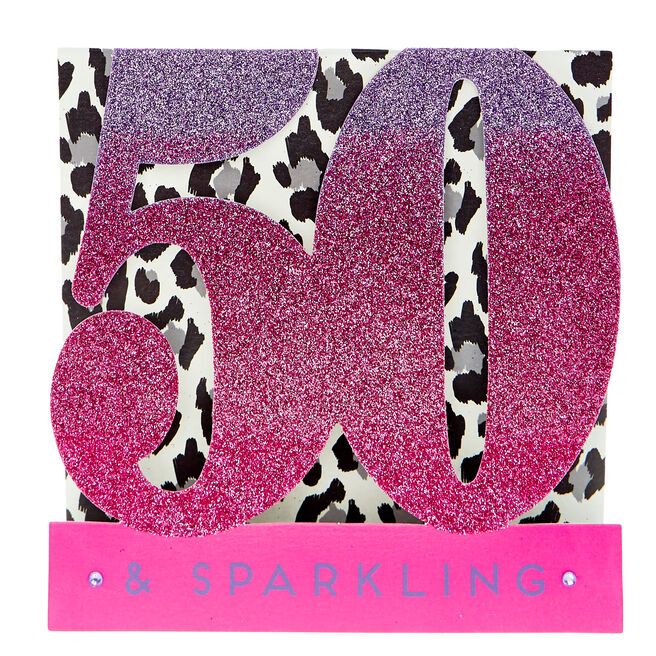 Pop-Up 50th Birthday Card - 50 & Sparkling