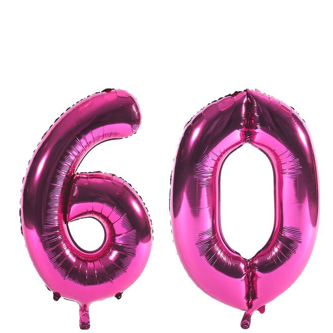 Age 60 Giant Foil Helium Numeral Balloons - Pink (deflated)