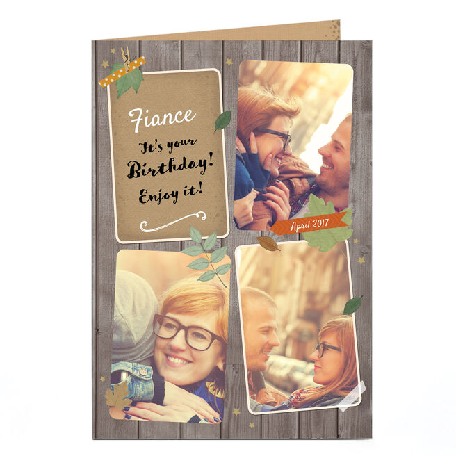 Photo Birthday Card - Wood Collage, Any Recipient