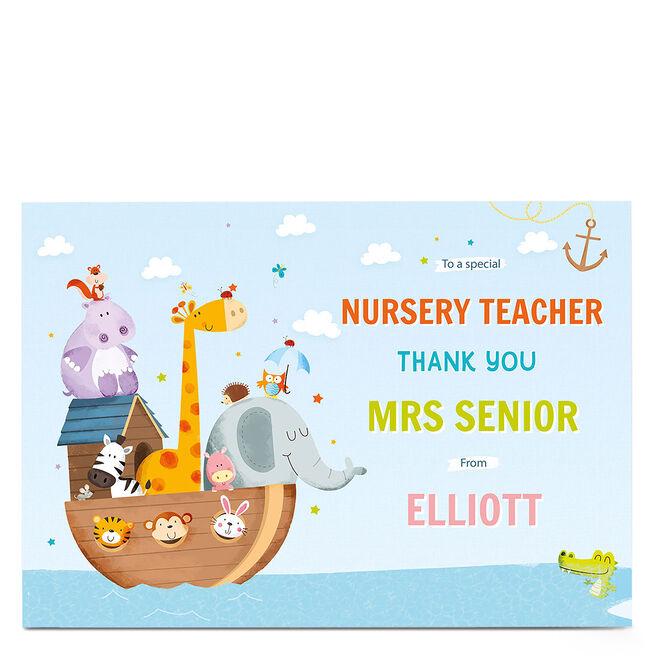 Personalised Thank You Teacher Card - Animal Ark