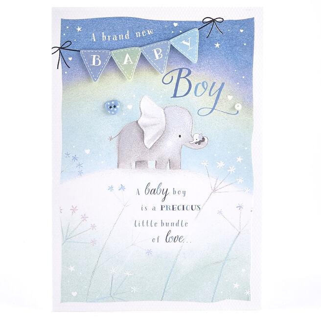 Baby Boy Card - Elephants