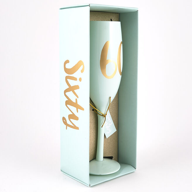 60th Birthday Large Mint Green Champagne Flute