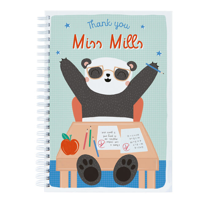 Personalised Thank You Teacher Notebook - Thank You Panda