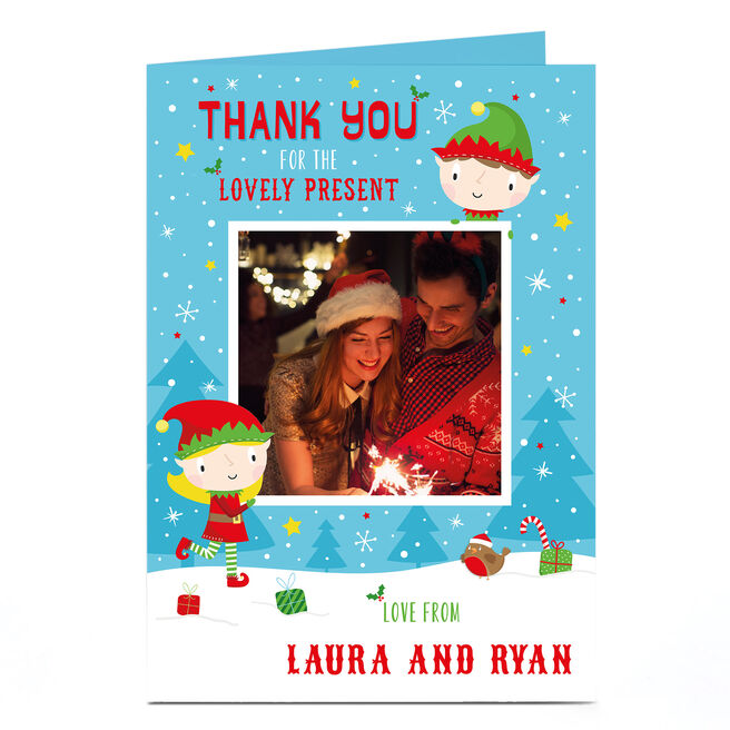 Personalised Christmas Photo Card - Elves in the Snow | Card Factory