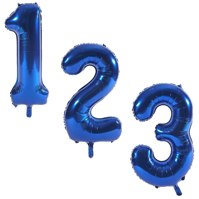 Blue Giant Number Helium Balloons 0-9 - DEFLATED