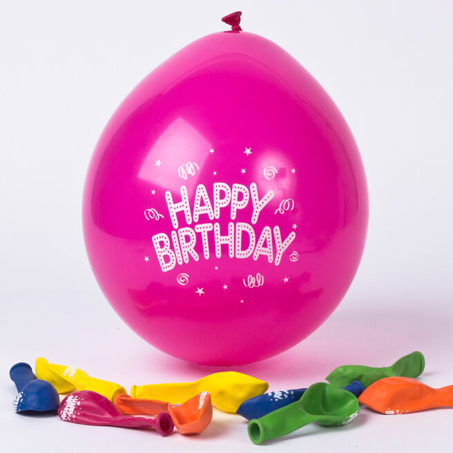 Small Multicoloured Happy Birthday Air-fill Latex Balloons, Pack Of 10
