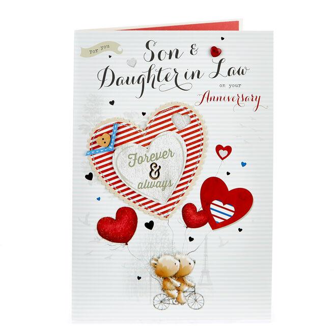Anniversary Card - Son & Daughter In Law, Parisian Bears