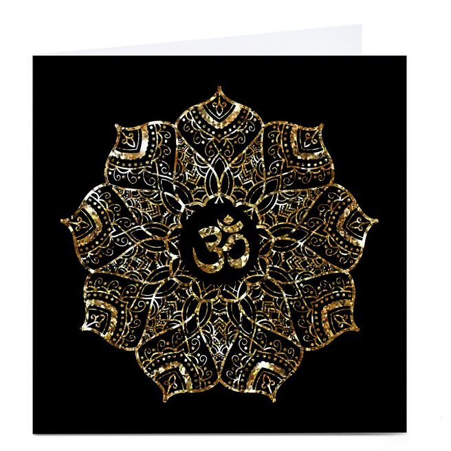 Personalised Roshah Designs Diwali Card - Square, Black & Gold