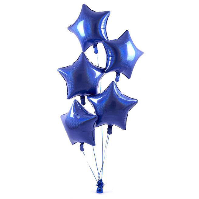 5 Royal Blue Stars Balloon Bouquet - DELIVERED INFLATED!