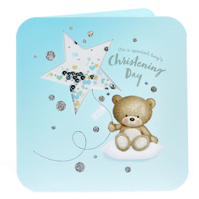 Boutique Collection Hugs Bear Christening Card - Boy