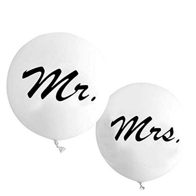 Large Latex Orb Balloons - Mr & Mrs (Pack of 2)