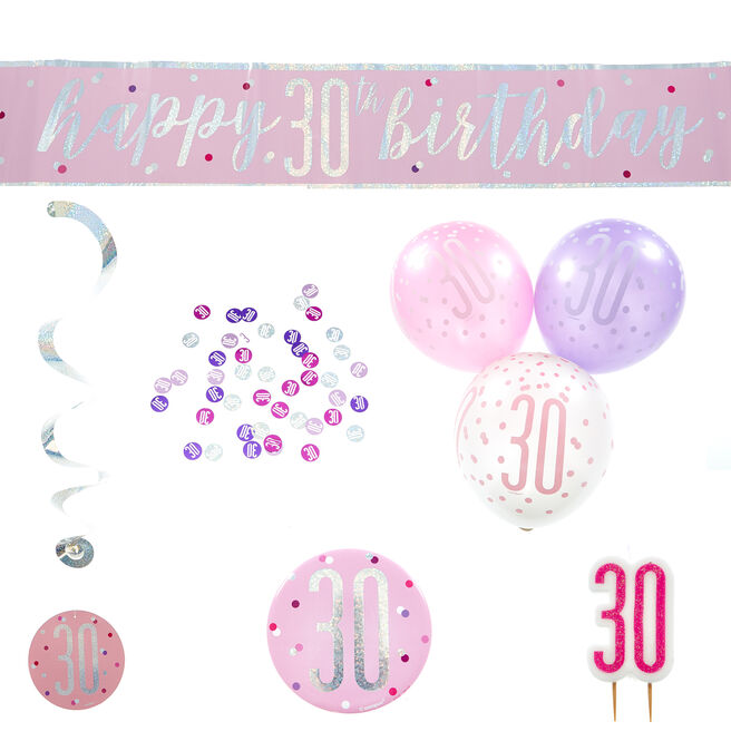 Pink 30th Birthday Party Accessories - 6 Pieces