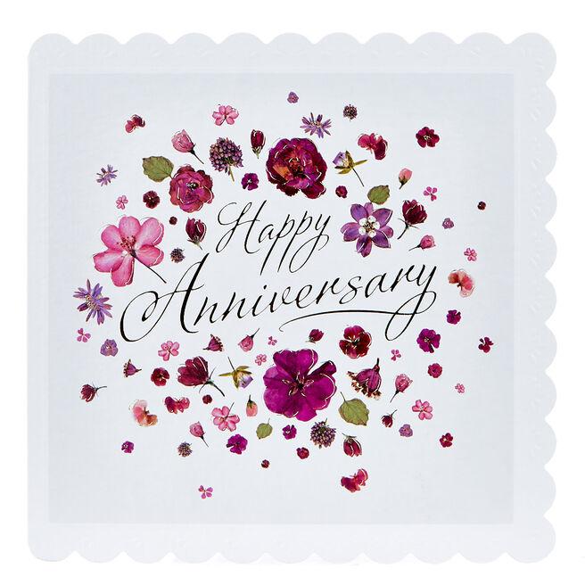 Anniversary Card - Purple & Gold Flowers