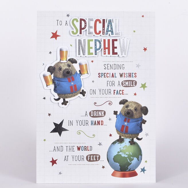 Signature Collection Birthday Card - Special Nephew, Dog