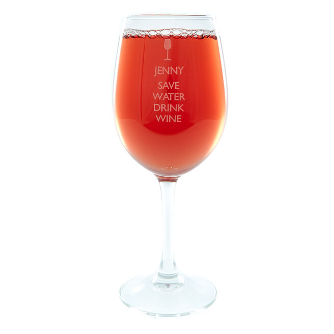 Personalised Save Water Wine Glass