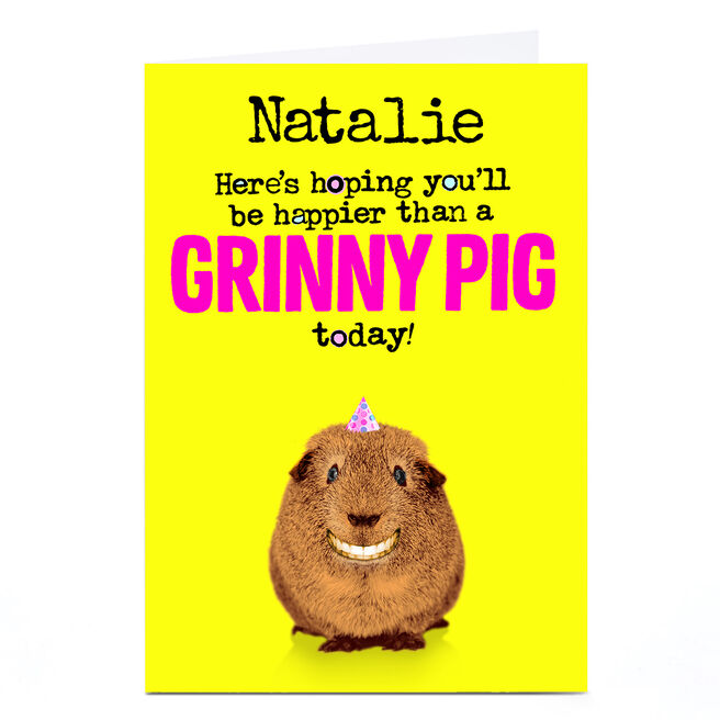 Personalised PG Quips Card - Grinny Pig