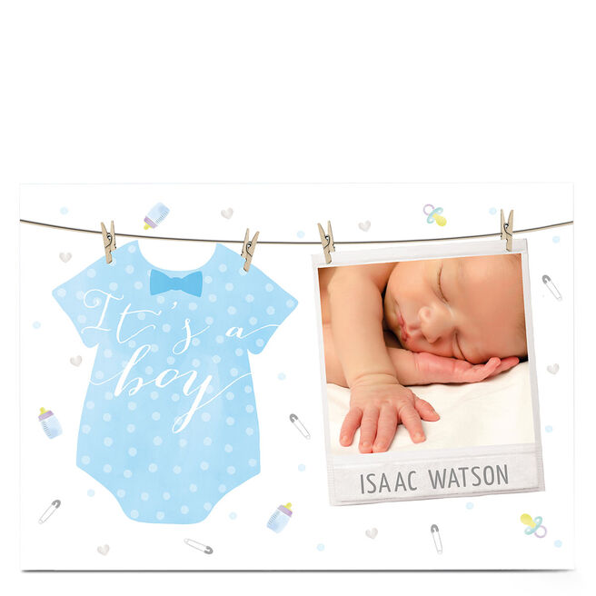 Photo New Baby Card - Baby Boy Washing Line
