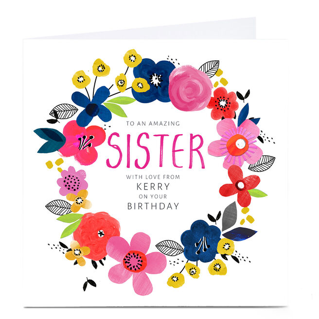 Personalised Kerry Spurling Birthday Card - Floral Wreath, Sister