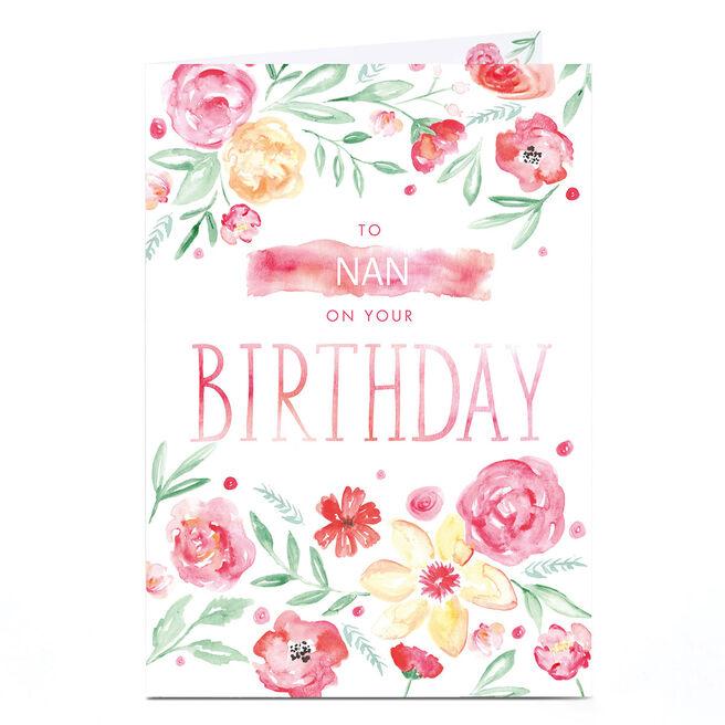 Personalised Birthday Card - Watercolour Flowers, Nan