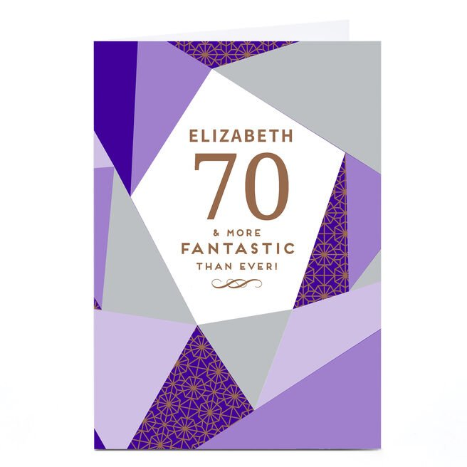 Personalised 70th Birthday Card - More Fantastic Than Ever, Purple