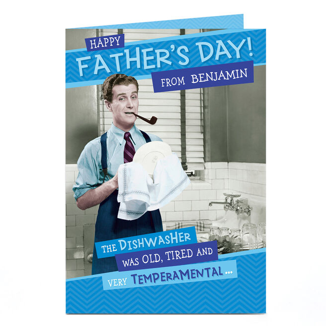 Personalised Father's Day Card - The Dishwasher