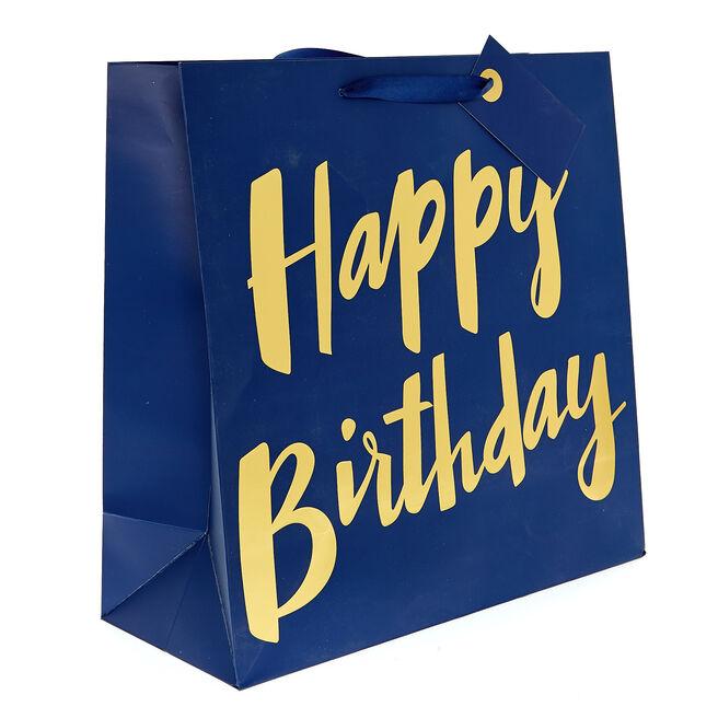 Large Square Gift Bag - Happy Birthday Navy