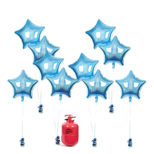 Party Balloon Bundle - 10 Baby Blue Stars & Helium