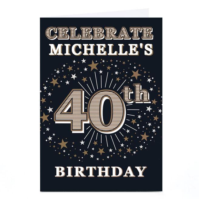 Personalised 40th Birthday Invitation - Gold Stars