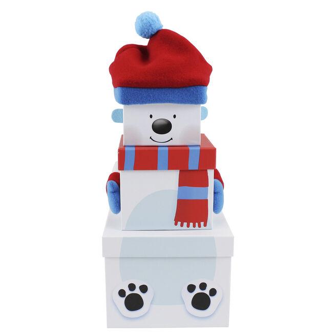 Plush Polar Bear Gift Boxes - Set Of 3