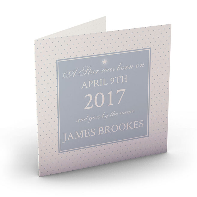 Personalised New Baby Card - A Star Was Born Blue