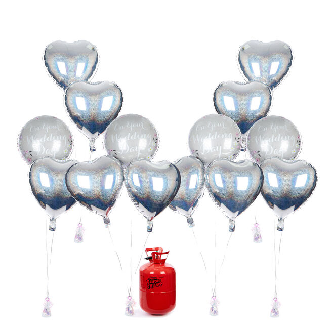 Wedding Balloon Bundle - Silver Hearts & Helium - FREE NEXT DAY DELIVERY