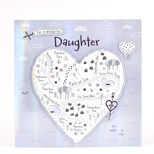 Boutique Collection Birthday Card - Daughter, Map