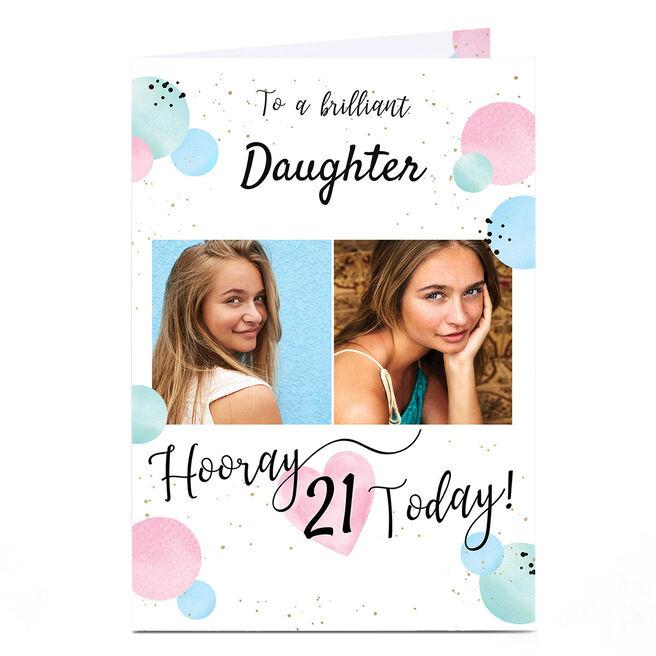 Photo 21st Birthday Card - Pastel Balloons