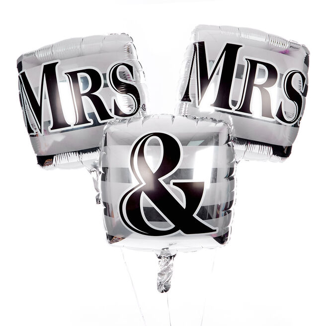 Square Mrs & Mrs Balloon Bouquet - DELIVERED INFLATED!