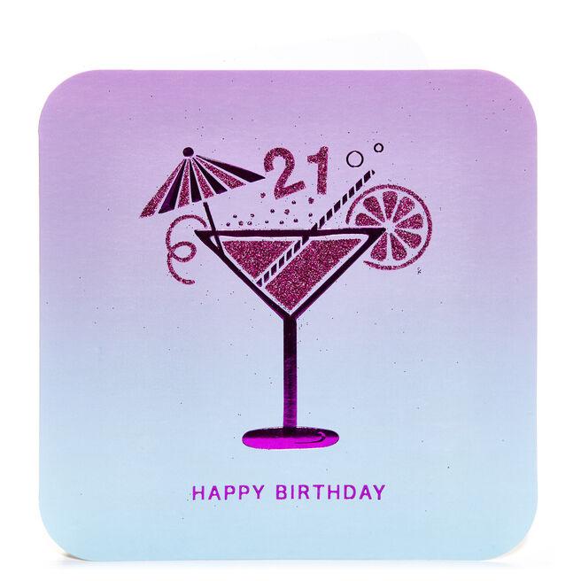 21st Birthday Card - Pink Cocktail