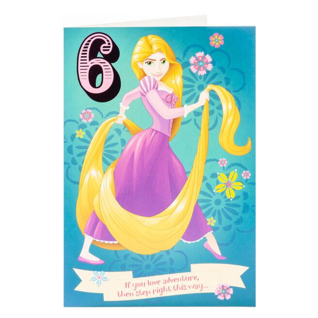 Disney Princess Tangled 6th Birthday Card