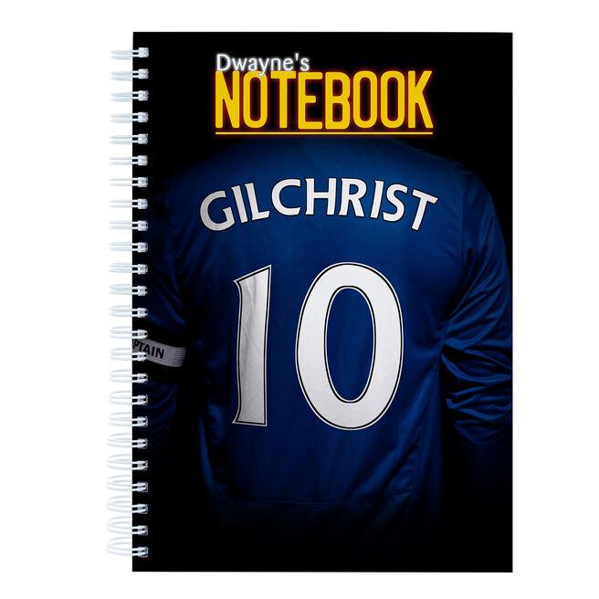 Personalised Blue Football Shirt Notebook