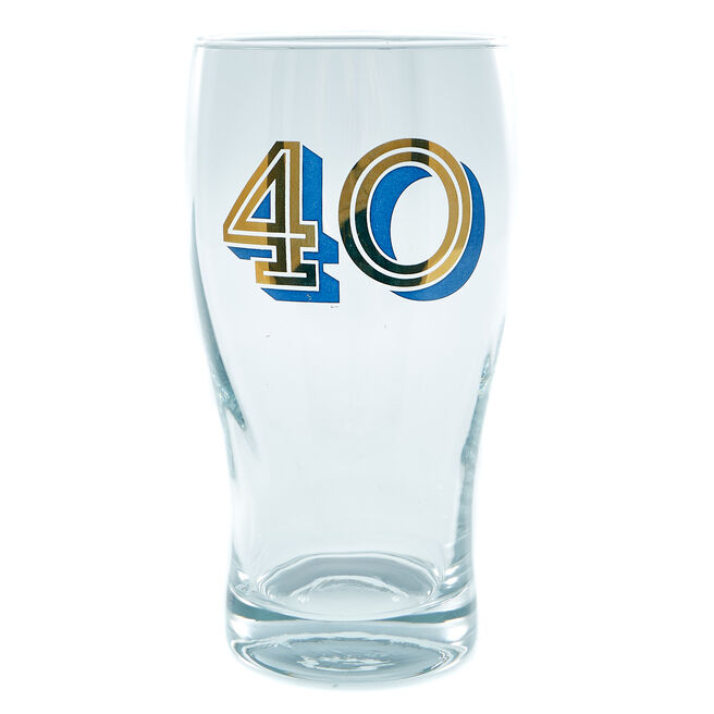 40th Birthday Pint Glass In A Box - Blue & Gold