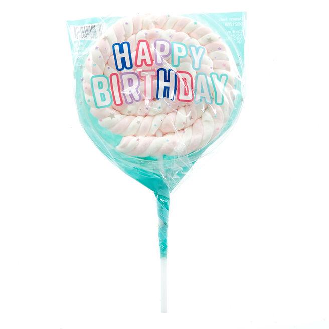 Happy Birthday Strawberry Marshmallow Lollipop