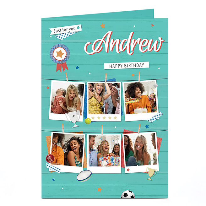 Multi Photo Birthday Card - Blue Just For You
