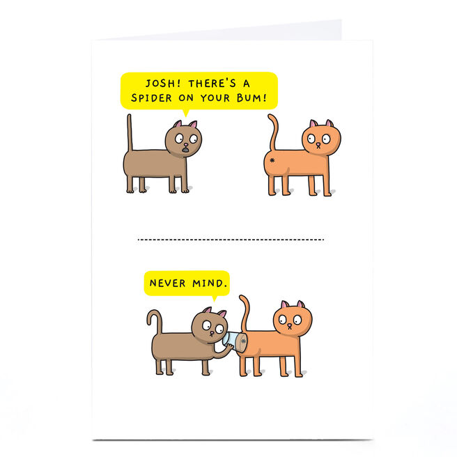 Personalised Mungo & Shoddy Card - Spider On Your Bum