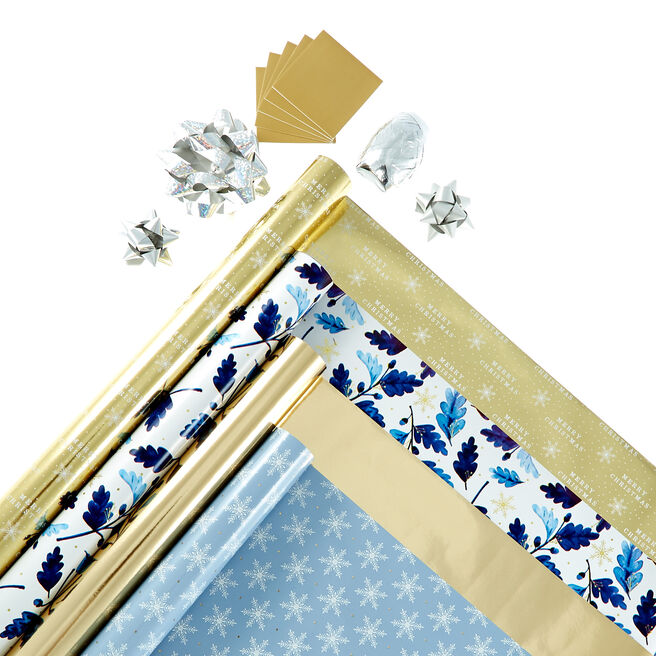 Wintery Christmas Wrapping Paper Pack - 4 Rolls & Accessories
