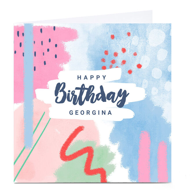 Personalised Little Mono Birthday Card - Abstract Pastels