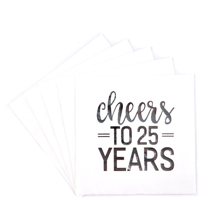 Cheers to 25 Years Paper Party Napkins - Pack of 16