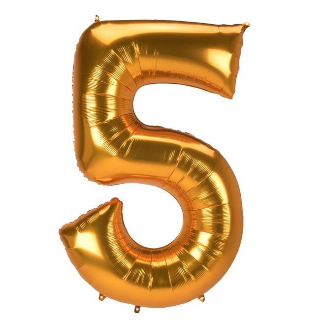 JUMBO 53-Inch Gold Foil Number 5 Balloon (Deflated)