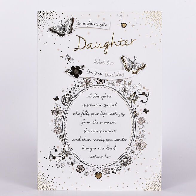 Birthday Card - Daughter, Black & Gold Butterflies
