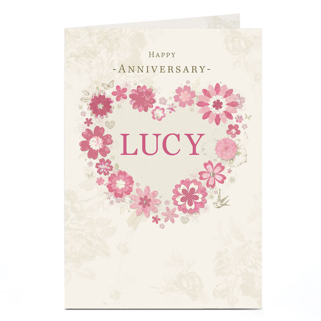 Personalised Anniversary Card - Pink Floral Heart